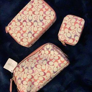 Coach Bags - Coach makeup bag, pill & jewelry box